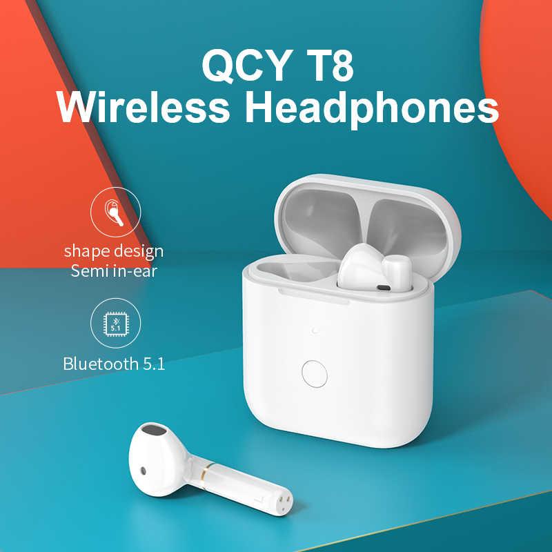 QCY T8 Bluetooth Kopfhörer Semi-in-ohr Drahtlose TWS Dual Verbindung Kopfhörer Halle Magnetische Ohrhörer mit Mikrofon Headset