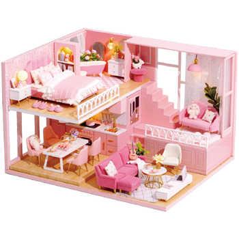 CUTEBEE DIY Puppe Haus Holz Puppe Häuser Miniatur Puppenhaus Möbel Kit mit LED Spielzeug für kinder Weihnachten Geschenk L30