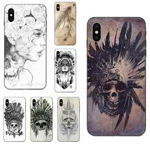 Indian Feather Skull Special Offer Luxury Mobile Phone Shell For Apple iPhone X XS Max XR 4 4S 5 5S SE 6 6S 7 8 Plus(China)