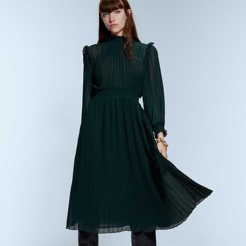 ZOEPO, складные платья с эластичной резинкой на талии, женское модное платье со стоячим воротником, женские элегантные платья до середины икры, женские платья JH