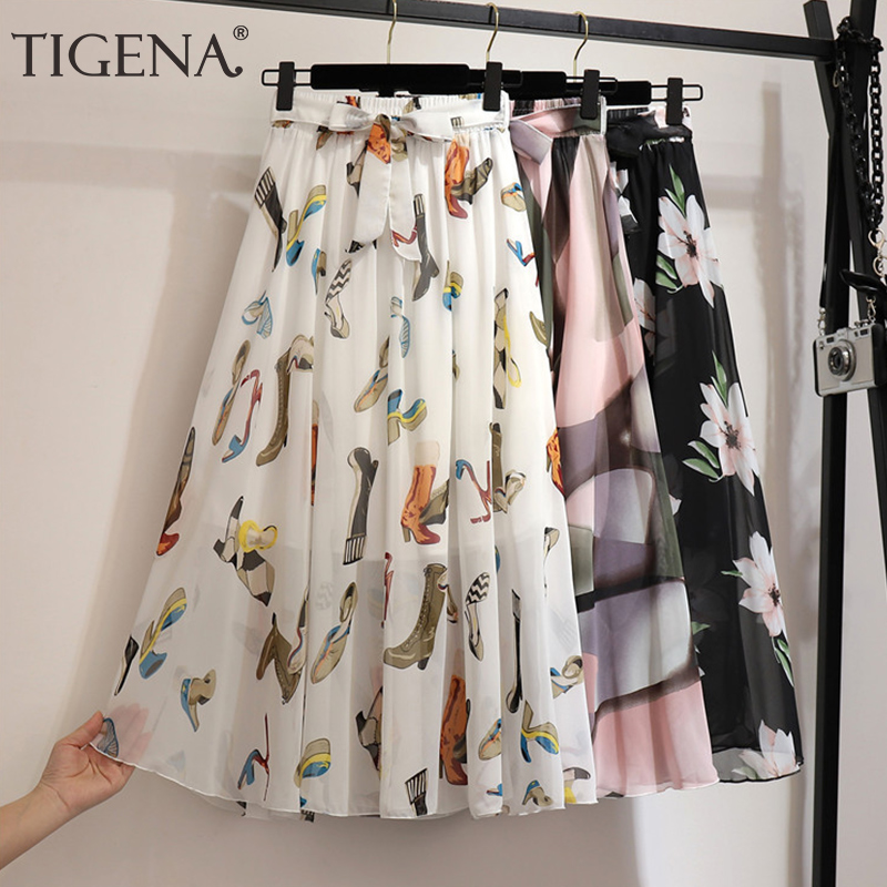 TIGENA Long Pleated Chiffon Skirt Women Fashion 2020 Summer Big Hem High Waist Floral Print Holiday Boho Beach Skirt Female