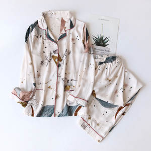 Home-Suit Pants Viscose Spring Pajamas Women Two-Piece Cotton Summer Long-Sleeved