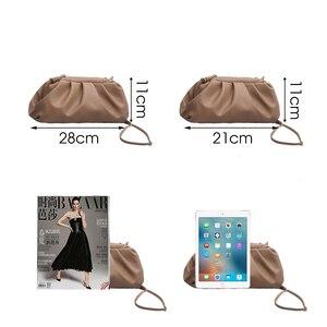 Image 3 - TTOU Fashion Elegant Clutch Evening Party Bag Women Big Ruched Pillow Bag Leather Korea Pouch Handbag White Black Bag Brand