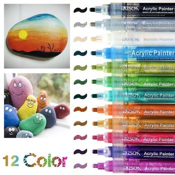 12 Colors Permanent Marker Acrylic Paint Marker Set for Wood Tyre Car Metal Fabric Plastic Round Fine nib 2mm Water-based Pens 6mm acrylic paint marker pens permanent non toxic acid free quick dry water based paint pen