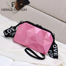 купить Herald Fashion Hard Box Hand Bags For Women Diamond Shape Messenger Bag Fashion Mini Bag Ladies Famous Clutch Bag New дешево