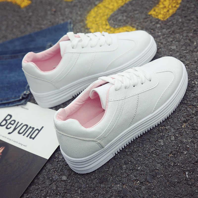 2020 bianco Scarpe Da Tennis Delle Donne Casual Delle Donne Degli Appartamenti Scarpe Da Ginnastica di Marca di Calzature Femminili di Spessore Suola Altezza Crescente Scarpe 3cm YX1526