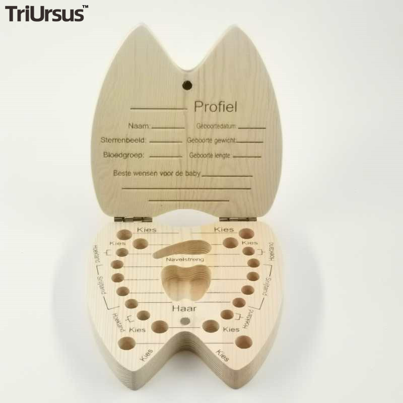 Drop Shipping Wood Baby Teeth Box Heart Shaped Baby Keepsake Umbilical Wooden Milk Tooth Organizer Kids Boys Girls Souvenirs