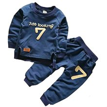 Spring Autumn Children Boys Girls Clothes Solid Color Set Cartoon Baby Girl Long-sleeved Two-piece