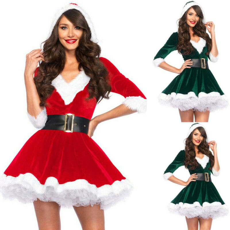 Fashion Women <font><b>Christmas</b></font> Party <font><b>Red</b></font> Mini <font><b>Dress</b></font> <font><b>Sexy</b></font> Santa Claus Cosplay Costumes image
