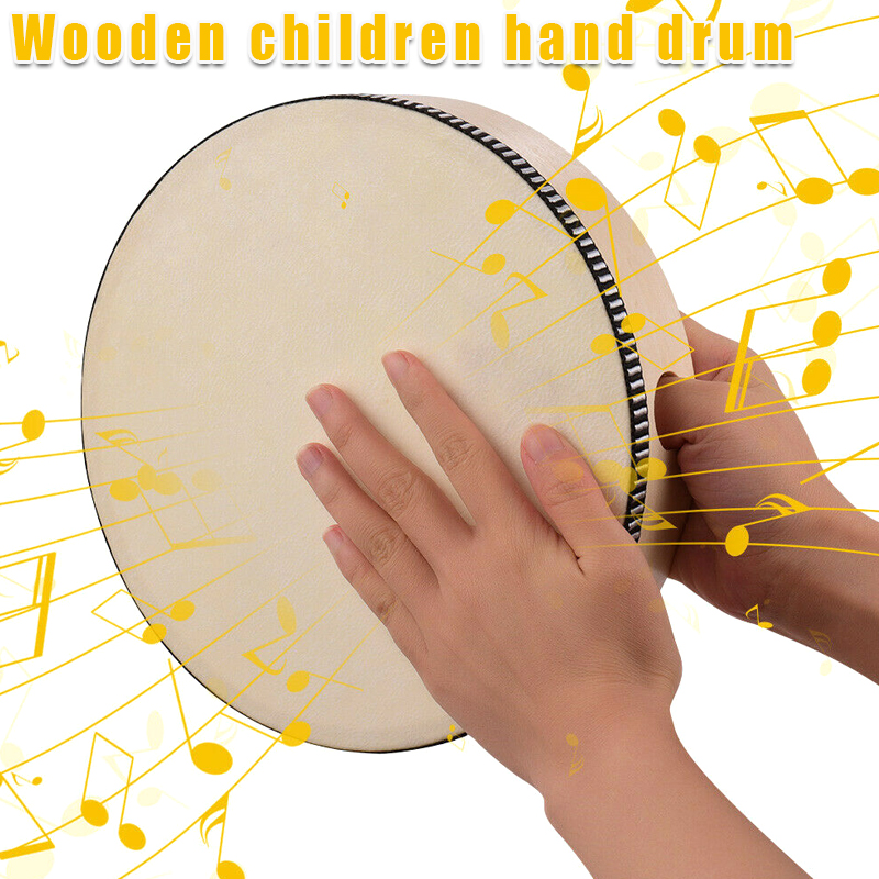 Wooden Hand Drum Kids Percussion Toy Wood Frame Drum for Children Music Game ENA88