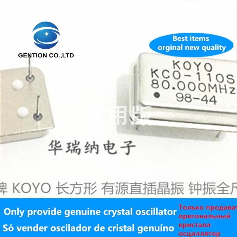 5pcs 100% Orginal New KCO-110S KOYO Rectangle Active Crystal Oscillator Zhong Zhen DIP-4 80MHZ 80M 80.000MHZ