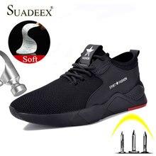 SUADEEX Рабочая защитная обувь, дышащие мужские строительные рабочие кроссовки, обувь со стальным носком, анти-разбивающие проколы, защитные ботинки