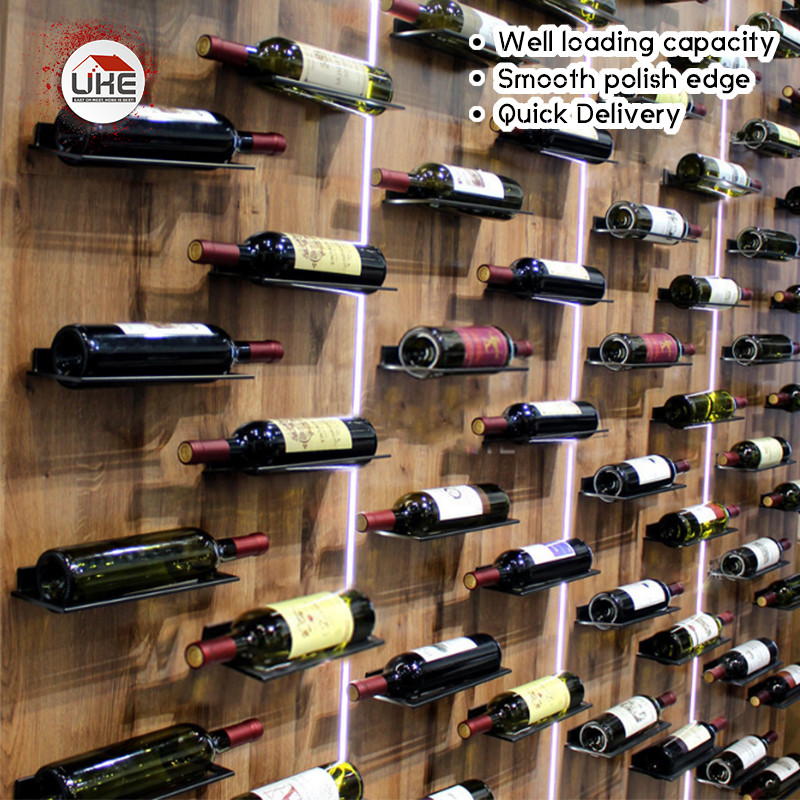 UKE Modern Wall Mount Wine Display Shelf Flat Red Wine Holder Suppoet Cabinet Racks Aluminum Alloy
