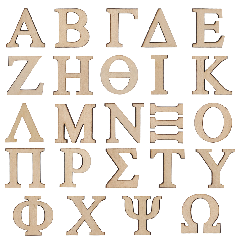 24pcs 1 Inch Small Wooden Greek Letter Alphabet Single Layer Unfinished Wood DIY Art Crafts Home Wedding Party Decoration