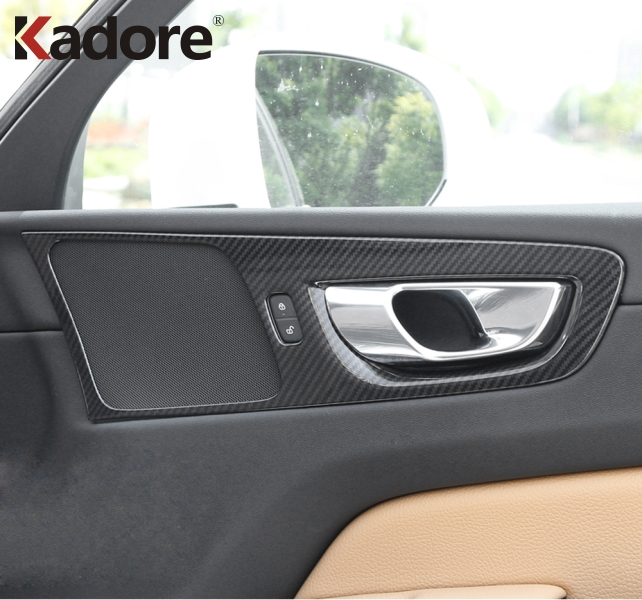 For <font><b>Volvo</b></font> <font><b>XC60</b></font> XC 60 2018 <font><b>2019</b></font> Carbon Fiber ABS Car Interior Door Handle Bowl Cover Trim Accessories High Configuration Model image
