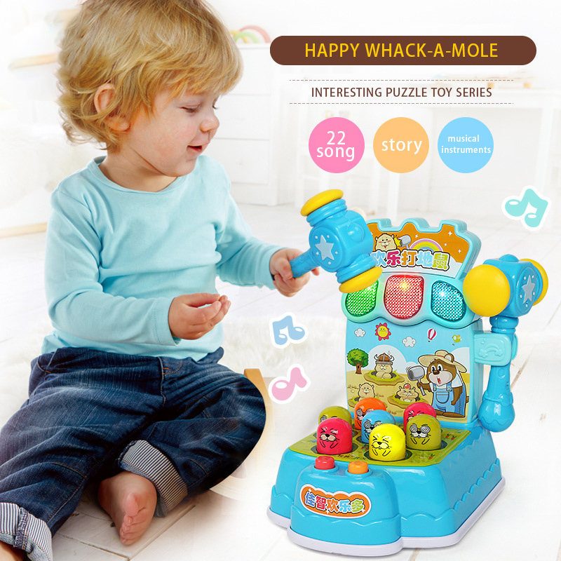 Happy Whack-A-Mole Plastic Music Baby Kids Toys Play Knock Hit Hamster Insect Game Educational Musical Instruments For Children