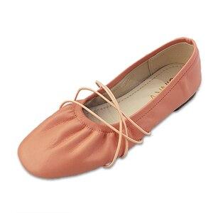 Zapatos planos de Ballet para mujer, zapatos informales de piel sintética, zapatos planos suaves, mocasines para mujer, zapatos de tacón estrecho de alta calidad, naranja, verde, blanco