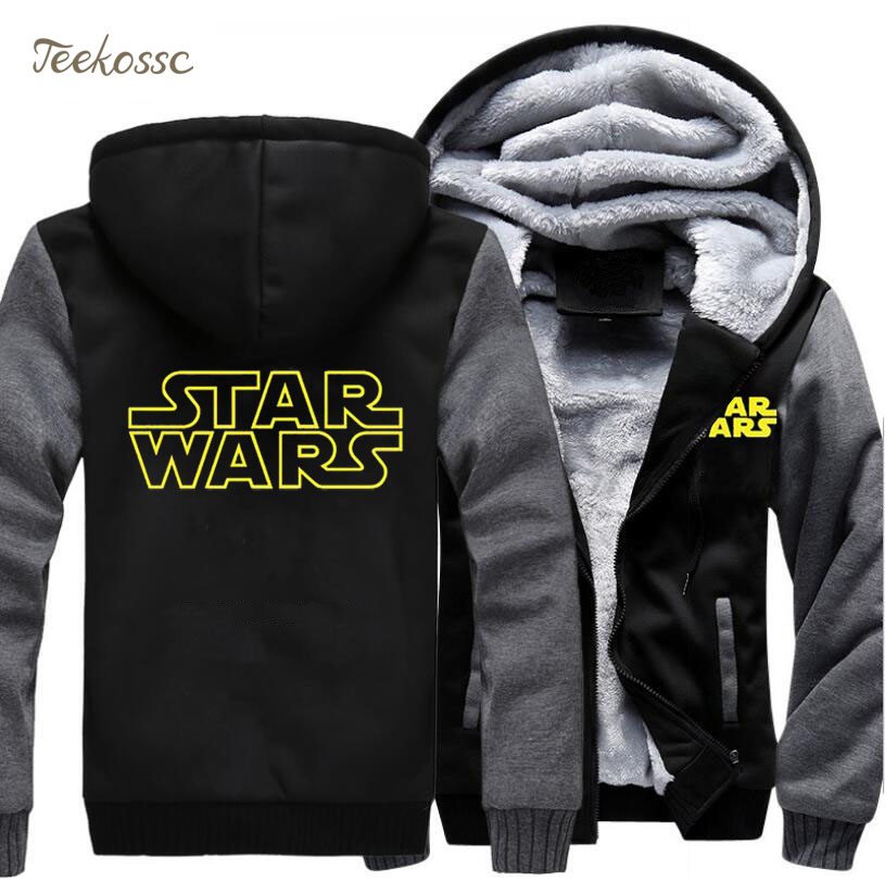 Star Wars Hoodie Sweatshirt Men 2018 New Fashion Winter Warm Fleece Thick Zipper Hooded Hoodies Jackets Hoody Male Plus Size 5XL