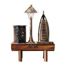 Artesanías Vintage figura modelo de construcción para accesorios de decoración del hogar banco de madera luz de noche soporte de adorno para pluma artesanías