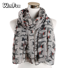 Winfox  New Fashionable Black Animal Cats Print Long Scarves For Women Lady