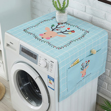 Nordic New Cute Elk Animal Print Cotton And Linen Dust Cover Home Washing Machine Microwave Oven With Pocket Storage Cover