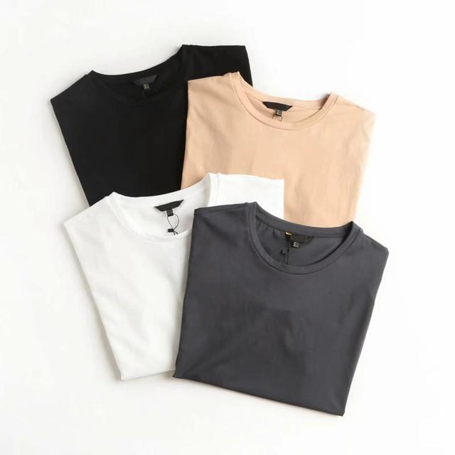 Summer Women Tshirts England Style Simple Solid O-Neck Cotton 3