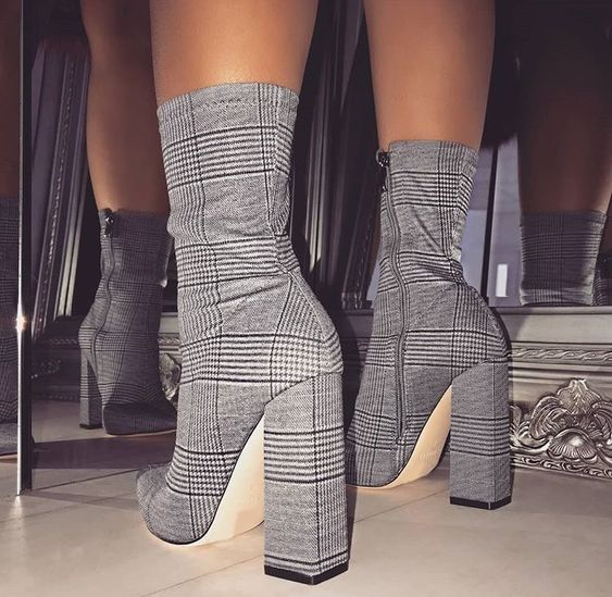 NIUFUNI Stripes Sexy Slim Ankle Boots For Women Shoes Pointed Toe High Heels Botas Mujer Femme Zipper Chelsea Boots Size 35-42 2