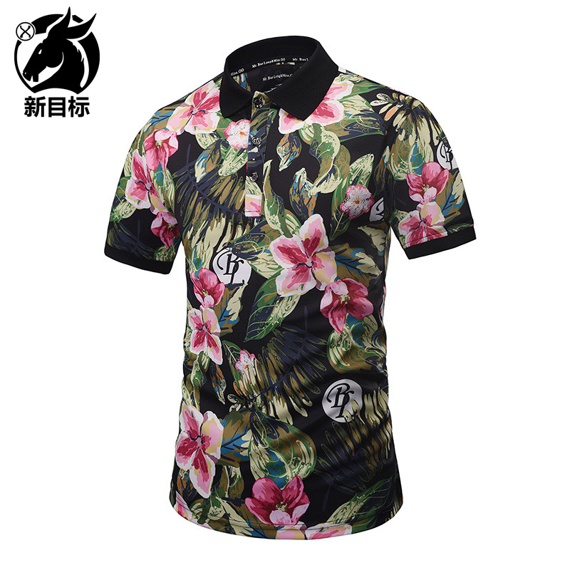 Foreign Trade Hot Selling 2019 Summer Wear New Style 3D Plant Oil Painting Printed   Polo   Shirt Street Youth Fashion   Polo   Tops