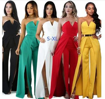 Elegant Evening Strapless Jumpsuit Boot Cut Pants Romper Thigh High Split Party Occasion Yellow White Wide Leg Jumpsuits new lace fly sleeved suspenders wear high waisted pants boot cut lace jumpsuit