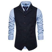 Men's Singlebreasted Plaid Waistcoat with Suit Collar New Arrival Autumn  Mens Sleeveless Suit Vest