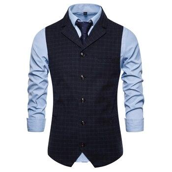 Mens Single-breasted Plaid Waistcoats