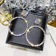 FYUAN Fashion Geometric Crystal Drop Earrings Big Round Silver Color Rhinestone Dangle Earrings for Women Party Jewelry Gifts цена и фото