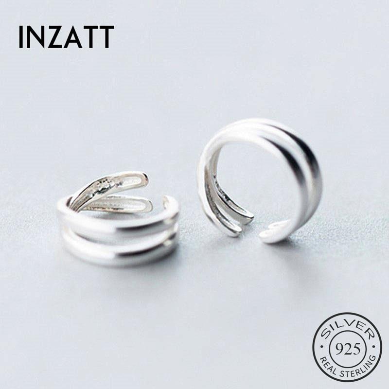 INZATT Real 925 Sterling Silver Minimalist Cross Clip Earrings For Fashion Women Party  Fine Jewelry Geometric Accessories