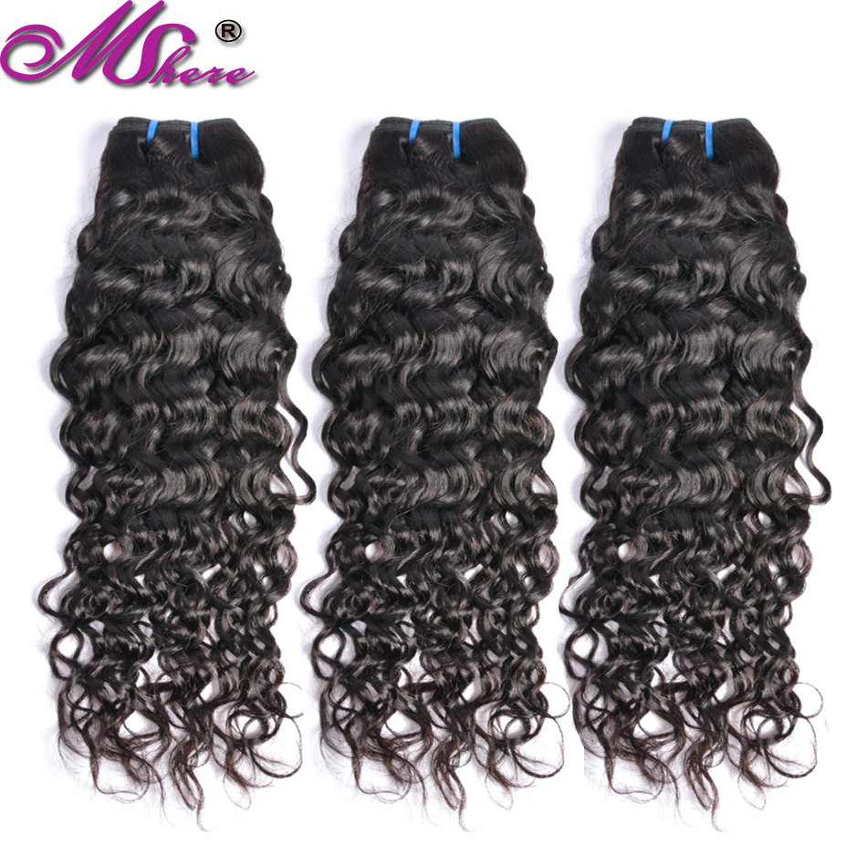 Mshere Indian Human Hair Water Wave Hair Weave Bundles Natural Color Non-remy Hair Extensions Can Be Dyed 1/3Pcs Hair Bundles