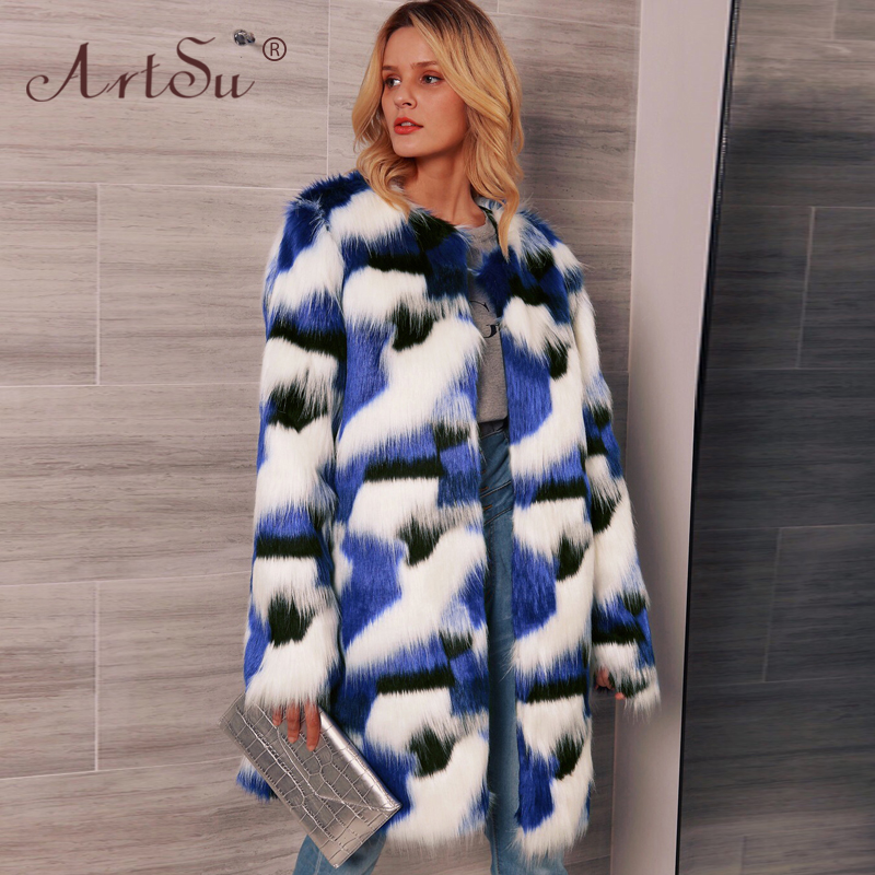 ArtSu 3XL Plus Size Women Multicolor Blue Long Faux Fur Coat Europe Fashion Celebrity Party Overcoat 2019 Winter Warm Coat Femme