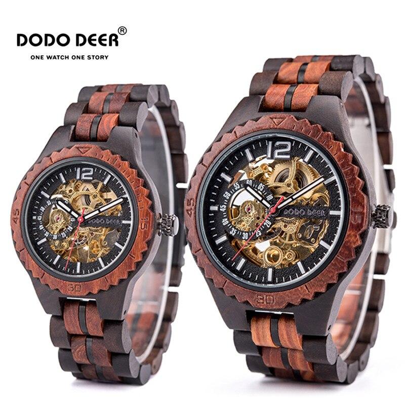 Relogio Masculino DODO DEER Wooden Mechanical Watch Couple Wrist Waterproof luminous automatic watch erkek kol saati D18