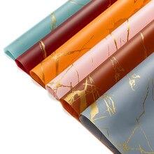 Papier d'emballage de fleurs Texture marbre doré, bricolage artisanat Scrapbook Bouquet de mariage boîte cadeau, emballage étanche Origami 5 pièces