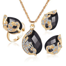Black Crystal Waterdrop Ring Necklace Earrings Jewelry Set Jewelry Sets Wedding Party For Women Gift moonrocy drop shipping silver color waterdrop fashion crystal necklace and earrings pink opal jewelry set for women girl