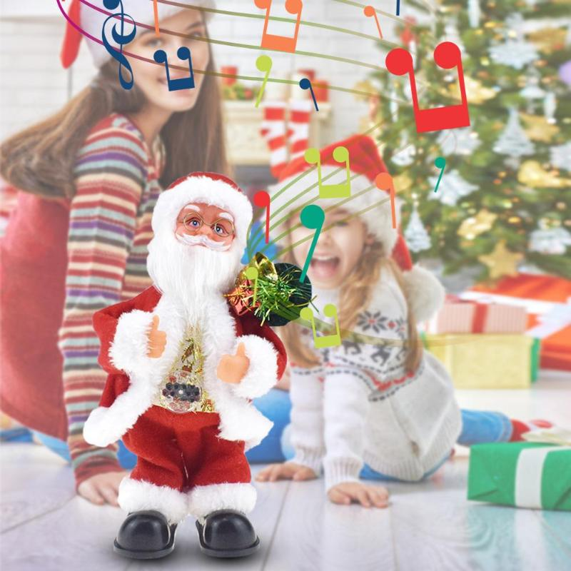 Santa Claus Electric Music Toy Children Elk Sled Toy Funny Plastic Novelty And Originality Music Box Universal Car Xmas Decor