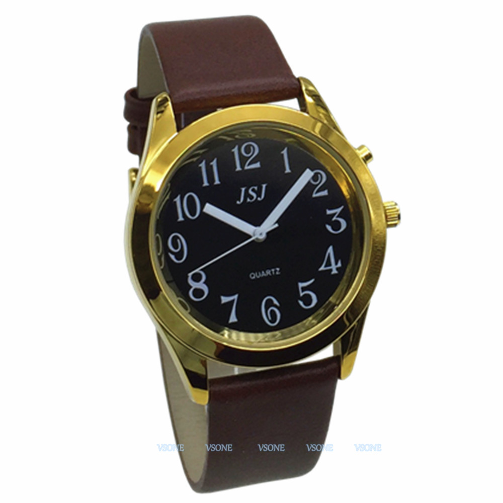 English Talking Watch With Alarm Function, Talking Date And Time, Black Dial, Brown Leather Band, Golden Case TAG-806