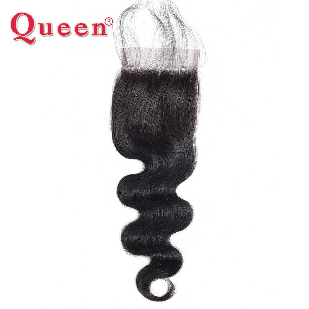 Koningin Haarproducten Braziliaanse Lichaam Wave Menselijk Haar Bundels Vetersluiting met Baby Haar 100% Remy Haar Weave Extensions ThreePart