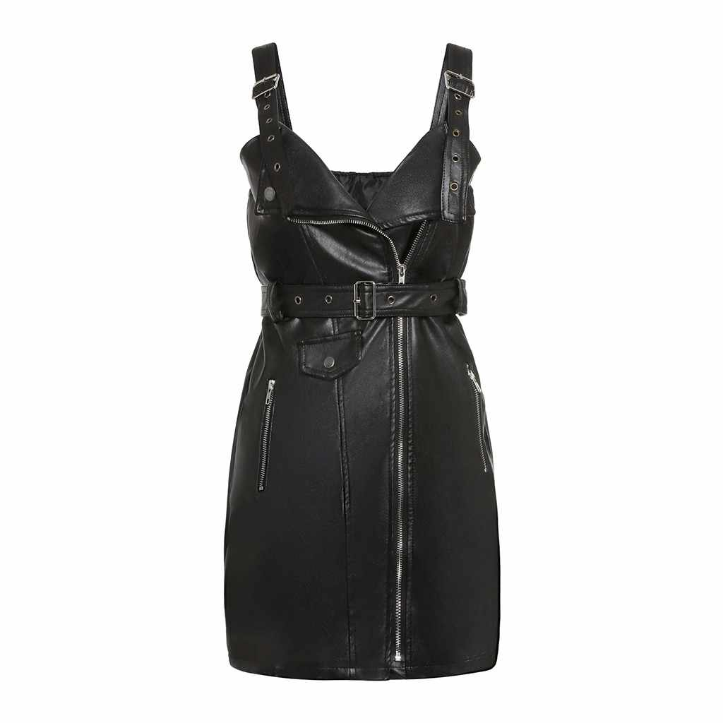 PU Leder Gothic Schwarz Kurz Bodycon Kleid Frauen Schnalle Gürtel Sommerkleid Sexy V-ausschnitt Plus Größe Goth Punk Rock Kleider mini # G8