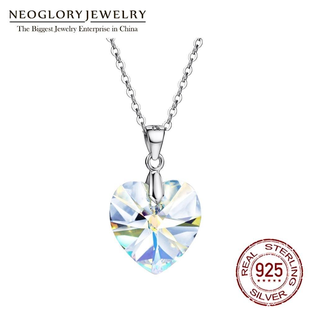 Neoglory s925 prata coração de cristal moda corrente colares & pingentes para mulher amor colar jóias 2020 novos presentes mc