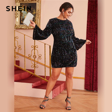 SHEIN Plus Size Black Fitted Sequin Glamorous Dress Women Autumn Plus Zipper Back Long Bell Sleeve Party Short Dresses