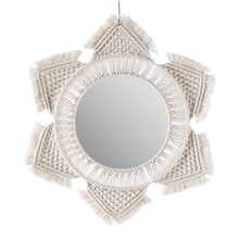 Macrame Fringe Woven Wall Mirror Boho Hanging Round Mirror Art Decor Wall Makeup Mirrors for Apartment Living Room