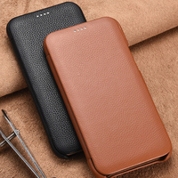 For Iphone11 Litchi Skin Genuine Leather Phone Case Iphone11 Xs Xr Flip Case Slim Business Smart Cover For Iphone 11 Pro Max