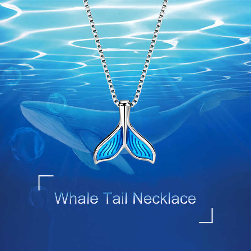 Fashion Silver Plating Mermaid Tail Lady Necklaces Women Whale Tail Pendant Chain Necklace Girls Gifts Jewelry dropshipping