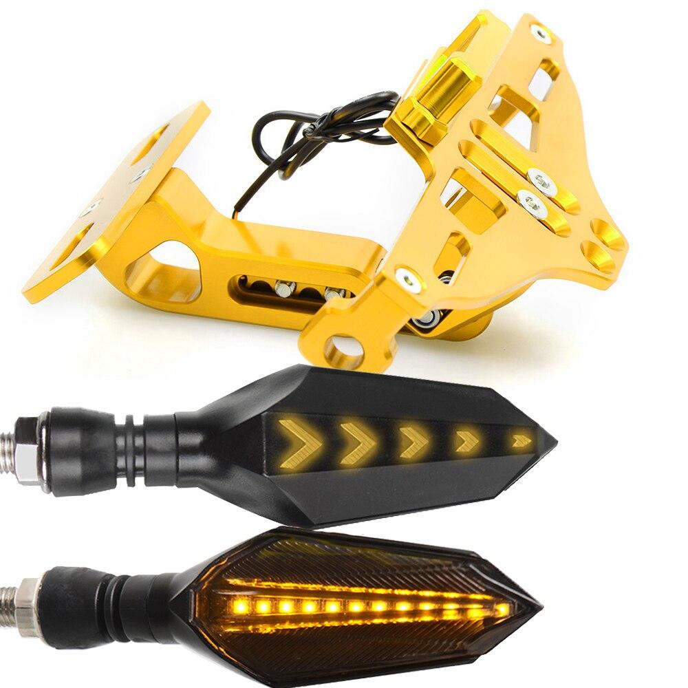 Мотоцикл номерной знак рамка держатель кронштейн с светодиодный указатель поворота мигалка для Honda CBR600 F3 F4 F4I CBR1000 RR - Цвет: Золотой