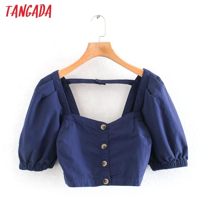 Tangada Women Retro Denim Crop Shirt Short Sleeve Backless 2020 Summer Chic Female Sexy Slim Shirt Tops 2W201