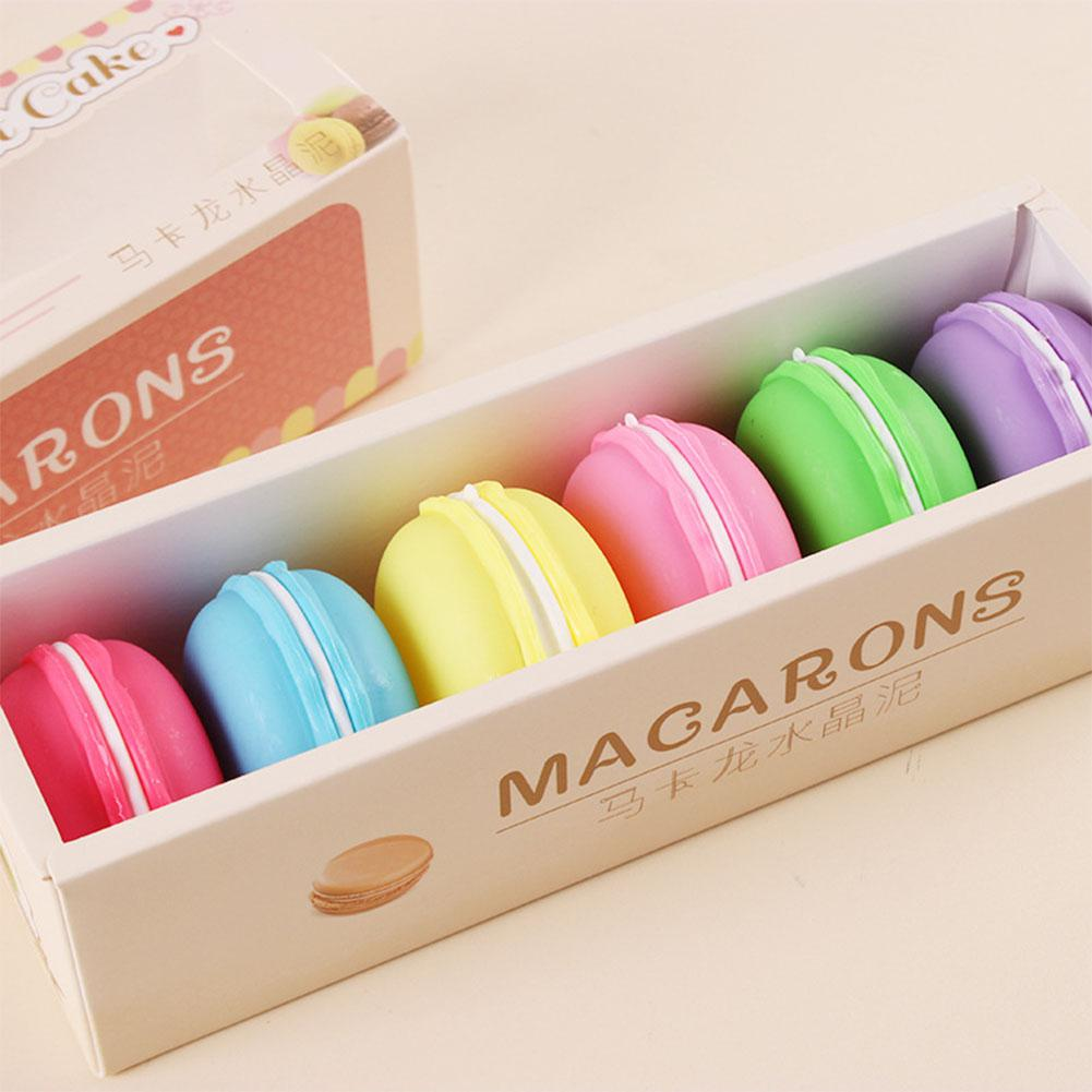 6 Or 8pcs/set Squishy Plasticine Colorful Macaron Crystal Slime Toys Blowing Bubbles Anti-stress Funny Mud Kids Gift